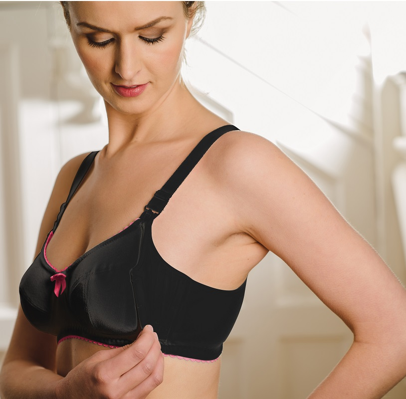 black and pink nursing bra